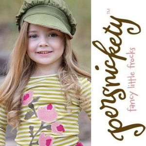 Persnickety Green Stripe Floral Applique Tee